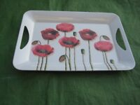 Red Poppy Melamine Tray