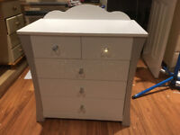 Brand New 3+2 Chest Of Drawers With Crystal Effect Handles rrp £125