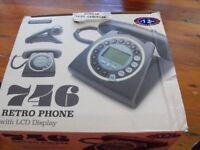 BLACK Retro vintage style CORDED PHONE LCD/digital display BRAND NEW IN BOX
