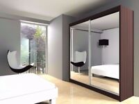 Discounted Offer! Brand New Berlin Full Mirror 2 Door Sliding Wardrobe in Black Walnut White Wenge