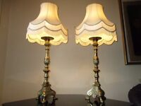 PAIR OF HUGE ANTIQUE 1920s SOLID BRASS FRENCH EMPIRE TABLE LAMPS WITH VINTAGE SHADES