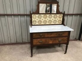 Vintage Retro Marble Topped Wash Stand with Original Features