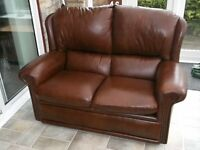 lovely two seater settee and armchair real leather