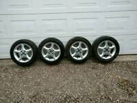 """A set of 4 14"""" alloy wheels and tyres"""