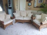 Kiani 'Sri Kandi' Rattan 3 Piece Conservatory Suite with off White/Cream Pillow Cushions