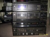 vintage technics seperates stacking hi-fi system amp twin cassette equalizer compact disc amfm tuner