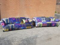 Cute Patchwork sofa suite.velvet material,pair of 3 seater sofas. 1 month old.clean.can deliver