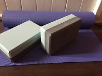 Yoga mat and blocks