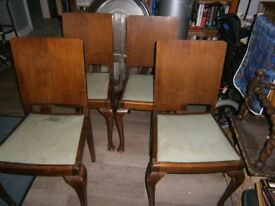 4 Retro Vintage Dining Chairs Flat Back