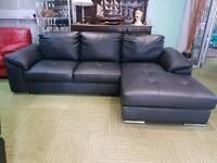 **NEW** Stunning black leather corner chaise sofa