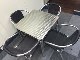Catalina Weave - Out Door Stacking Arm Chairs & Aluminium Bistro Square Stacking Dining Tables