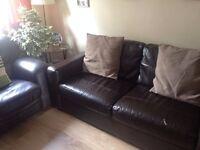 Chocolate brown 3 seater and single sofa