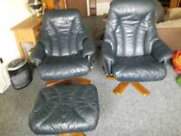 2 reclining chairs +foot stool