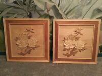 Vintage hand carved wooden art pictures