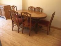 Fabulous Ducal Pine dining room table and chairs