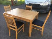 Oak extending dining table & 4 chairs * free furniture delivery*