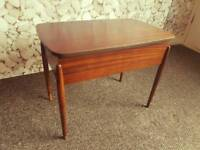 Morco teak sewing box / occasional side table. Lift up lid. Storage