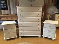 Tall chest of drawers and pair of bedsides