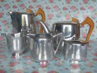 Vintage 1950s/60s 'Piquot Ware' stainless steel tea/coffee set