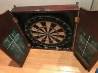 Dart board and mount, with darts