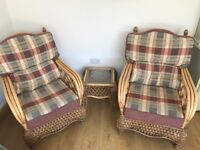 Set of 2 chairs and 1 table, ideal for conservatory or summer house