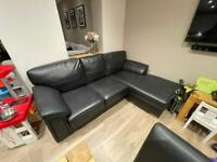 *NEED GONE* Black Faux Leather Chaise Sofa