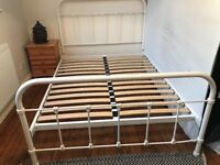 Antique white sturdy metal double bed frame good condition couple of small marks collect from M20