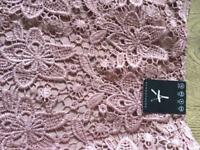 Pink lace pencil skirt ladies 12 BNWT