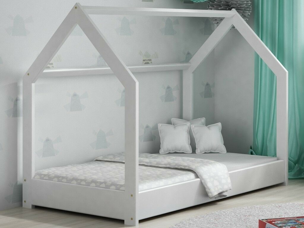 Kids Children Toddler Bed House White Pinewood Wooden Bed