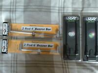 2 buzz bars NEW solar, 2 NEW korda snag stow bars
