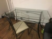Big glass dining table + chairs