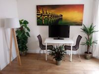 Everything in photo for sale! LG TV, floor lamp, plants, box canvas print, Ikea table / chairs