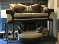 DESIGNER CORD SUEDE FABRIC CUDDLE SWIVEL ARM CHAIR SOFA SET 6 MONTHS OLD