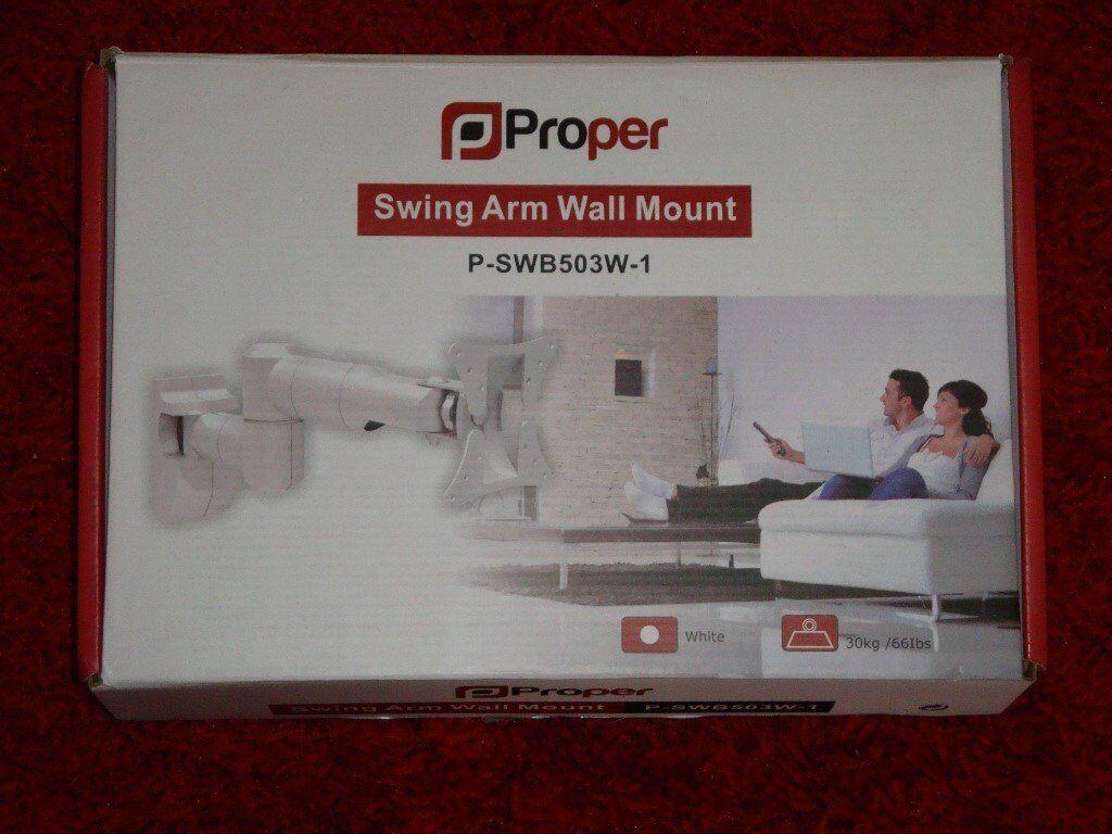 Proper Swing Arm White Wall Mount Bracket P SWB503W -1 to Vessa 100 x 100
