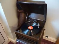 lovely vintage his masters voice 1930s mahogany 78 speed table top gramophone & five english records