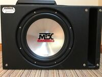 12'' MTX Thunder 5500 subwoofer, in sealed Sledgehammer enclosure, with MTX 4001 amplifier