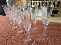 8 crystal champagne flutes