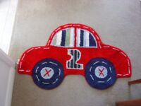 Mothercare Red Car shaped rug/mat 45 x 28 for nursery/kid's bedroom