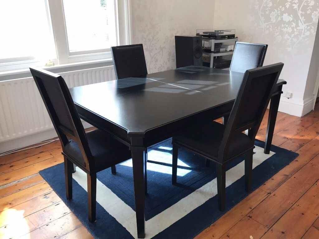 Laura Ashley Black Henshaw Dining Table And 4 Matching Chairs