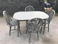 Grey shabby chic dining table & 4 Chairs