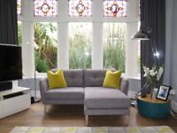 Grey M&S Marks & Spencer Retro Inspired 2 Seater Chaise Sofa