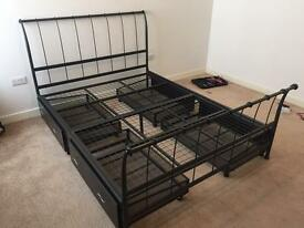 King size metal bed frame with drawers