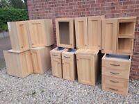 Complete 14 Unit Solid Oak Kitchen. Fixings Included. Trim & Appliance Doors. Excellent Condition.