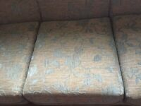 3 Setter Sofa with 1 Armchair, Curtains & Pelmet to Match. g .