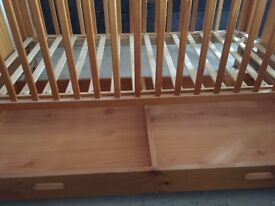 Solid pine wood cot bed with matress and drawer - very good condition
