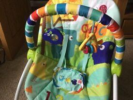Baby bouncer seat vibrates