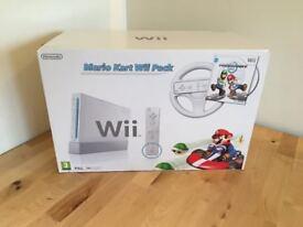 White Nintendo Wii with Mario Kart Pack - Brand New