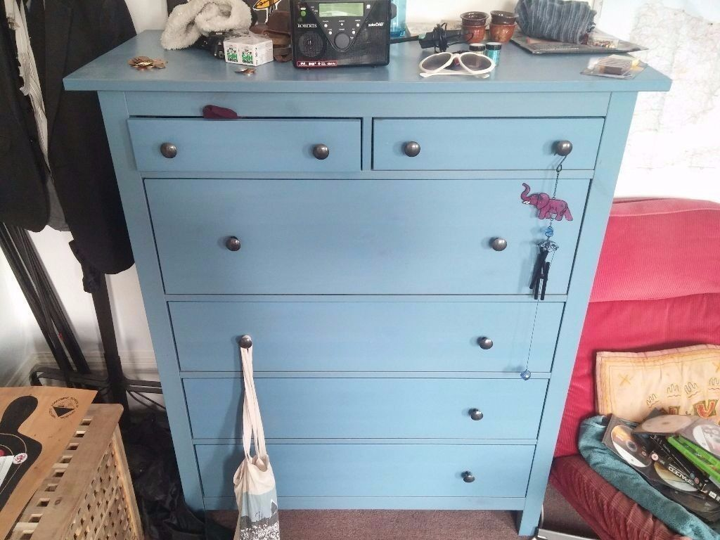 Gorgeous chest of 6 drawers ikea hemnes shabby chic blue no longer made