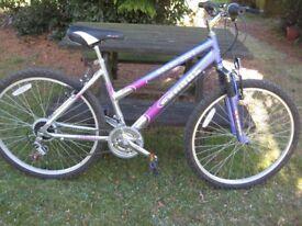 Ladies front suspension mountain bike.