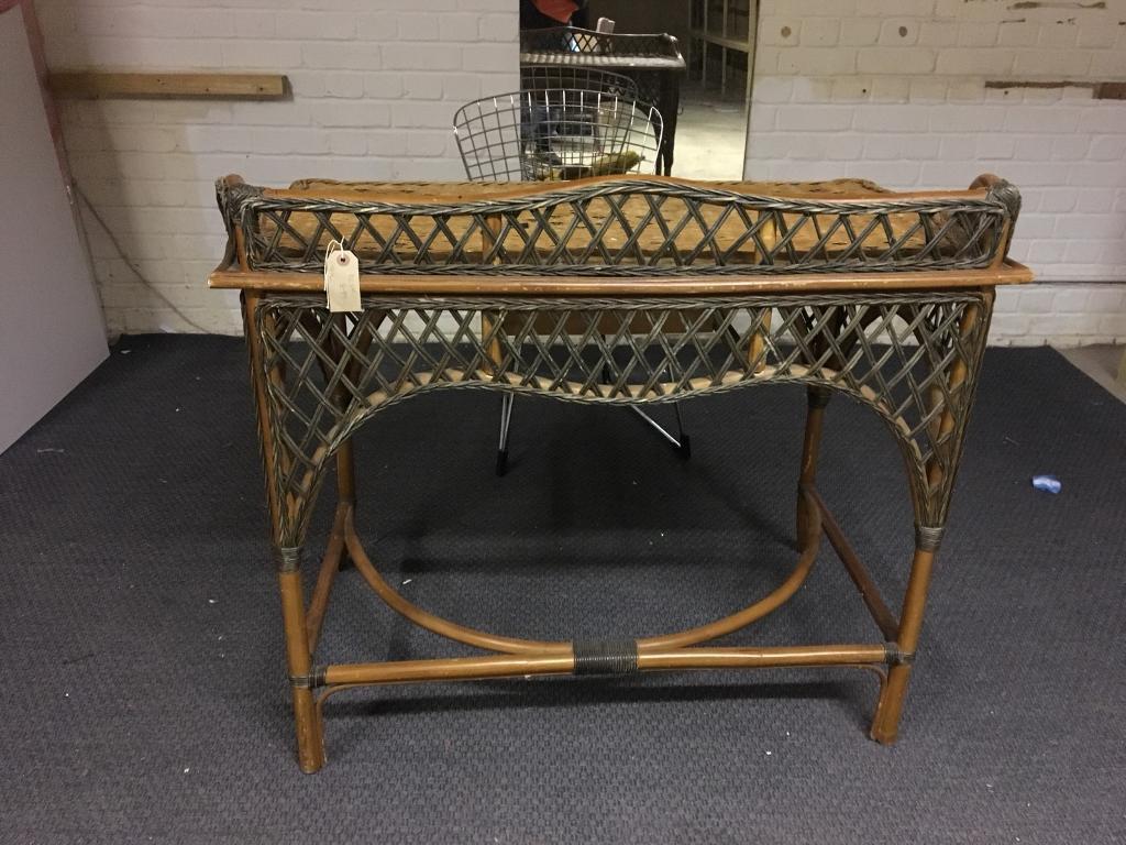 Vintage 50s Wicker Desk